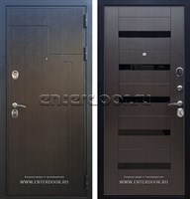 Входная металлическая дверь Армада Премиум 246 СБ-14 (Венге / Венге) вставки стекло черное
