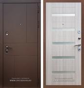 Входная металлическая дверь Армада Урбан СБ-14 (Ясень шоколадный / Сандал белый) вставки стекло белое