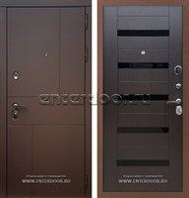 Входная металлическая дверь Армада Урбан СБ-14 (Ясень шоколадный / Венге) вставки стекло черное
