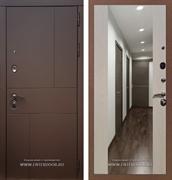 Входная дверь Армада Урбан СБ-16 с Зеркалом (Ясень шоколадный / Лиственница беж)
