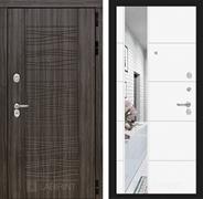 Входная металлическая дверь Лабиринт Сканди 19 Зеркало (Дарк Грей / Белый софт)