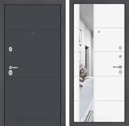 Входная металлическая дверь Лабиринт Арт 19 Зеркало (Графит софт / Белый софт)