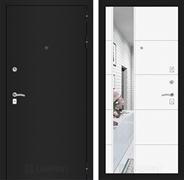 Входная дверь Лабиринт Классик 19 Зеркало (Шагрень черная / Белый софт)