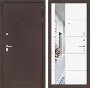 Входная металлическая дверь Лабиринт Классик 19 Зеркало (Антик медный / Белый софт)