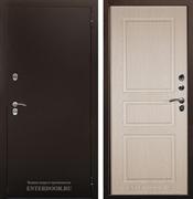 Уличная металлическая сейф дверь с терморазрывом Аргус Тепло-5 (Молотковая коричневая / Дуб белёный)
