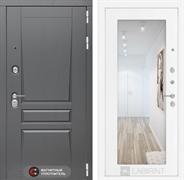 Входная металлическая дверь Лабиринт Платинум 18 Зеркало (Альберо Грей / Белое дерево)