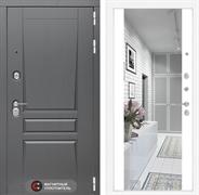 Входная металлическая дверь Лабиринт Платинум Зеркало Максимум (Альберо Грей / Белый софт)