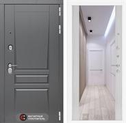 Входная металлическая дверь Лабиринт Платинум Зеркало Максимум (Альберо Грей / Сандал белый)