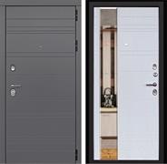 Входная металлическая дверь Дверной Континент Новелло 3К с Зеркалом (Графит софт / Альберо браш)