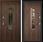 Входная уличная дверь ДК Лион 3К с окном и ковкой (Орех тёмный / Орех тёмный)
