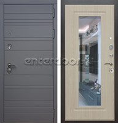 Входная металлическая дверь Армада 14 с Зеркалом (Графит софт / Беленый дуб)
