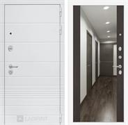 Входная металлическая дверь ЛабиринтТрендо Зеркало Максимум (Белый камень / Венге)