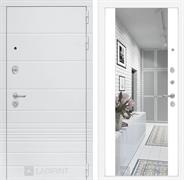 Входная металлическая дверь Лабиринт Трендо Зеркало Максимум (Белый камень / Белый софт)