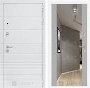 Входная металлическая дверь Лабиринт Трендо Зеркало Максимум (Белый камень / Софт Грей)