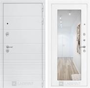 Входная металлическая дверь Лабиринт Трендо 18 Зеркало (Белый камень / Белое дерево)