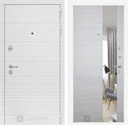 Входная металлическая дверь Лабиринт Трендо Зеркало (Белый камень / Акация светлая)