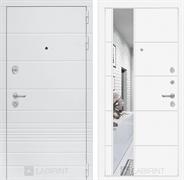 Входная металлическая дверь Лабиринт Трендо 19 Зеркало (Белый камень / Белый софт)