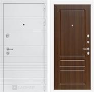 Входная металлическая дверь Лабиринт Трендо 3 (Белый камень / Орех бренди)