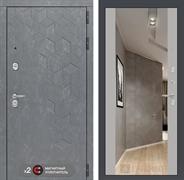 Входная металлическая дверь Лабиринт Бетон Зеркало Максимум (Бетон песочный / Софт Грей)