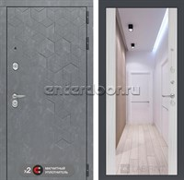 Входная металлическая дверь Лабиринт Бетон Зеркало Максимум (Бетон песочный / Сандал белый)