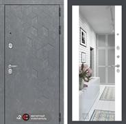 Входная металлическая дверь Лабиринт Бетон Зеркало Максимум (Бетон песочный / Белый софт)