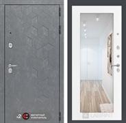 Входная металлическая дверь Лабиринт Бетон Зеркало 18 (Бетон песочный / Белое дерево)