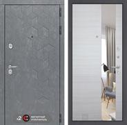 Входная металлическая дверь Лабиринт Бетон Зеркало (Бетон песочный / Акация светлая)