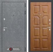 Входная металлическая дверь Лабиринт Бетон 17 (Бетон песочный / Золотой дуб)