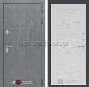 Входная металлическая дверь Лабиринт Бетон 6 (Бетон песочный / Белое дерево)