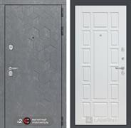 Входная металлическая дверь Лабиринт Бетон 12 (Бетон песочный / Белое дерево)
