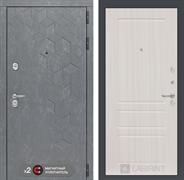 Входная металлическая дверь Лабиринт Бетон 3 (Бетон песочный / Сандал белый)