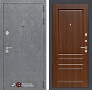 Входная металлическая дверь Лабиринт Бетон 3 (Бетон песочный / Орех бренди)