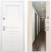 Входная металлическая дверь Армада Премиум Н с Зеркалом СБ-16 (Белый / Лиственница беж)