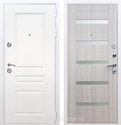 Входная металлическая дверь Армада Премиум Н СБ-14 (Белый / Сандал белый) стекло матовое