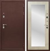 Входная металлическая дверь Армада 5А с зеркалом Пастораль (Медный антик / Дуб белёный)