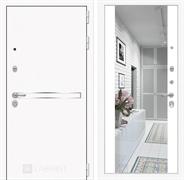 Входная металлическая дверь Лабиринт Line White с Зеркалом Максимум (Шагрень белая / Белый софт)