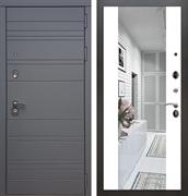 Входная металлическая дверь Армада 14 СБ-16 с Зеркалом (Графит софт / Белый матовый)