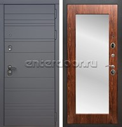 Входная металлическая дверь Армада 14 с Зеркалом Пастораль (Графит софт / Берёза морёная)