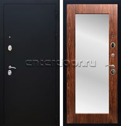 Входная металлическая дверь Армада 5А с Зеркалом Пастораль (Чёрный муар / Берёза морёная)