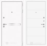 Входная металлическая дверь Лабиринт Line White 13 (Шагрень белая / Белый софт)