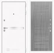 Входная металлическая дверь Лабиринт Line White 6 (Шагрень белая / Сандал серый)