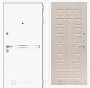 Входная металлическая дверь Лабиринт Line White 4 (Шагрень белая / Дуб беленый)