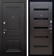 Входная металлическая дверь Армада Лондон СБ-14 (Венге / Венге) стекло черное