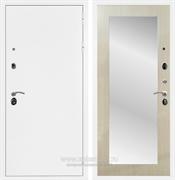 Входная металлическая дверь Армада 5А с зеркалом Пастораль (Белая шагрень / Дуб белёный)