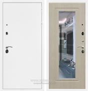 Входная металлическая дверь Армада 5А с зеркалом ФЛЗ-120 (Белая шагрень / Беленый дуб)