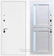 Входная металлическая дверь Армада 5А СБ-18 (Белая шагрень / Лиственница беж) стекло белое