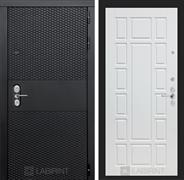 Входная металлическая дверь Лабиринт Black 12 (Чёрный кварц / Белое дерево)