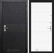 Входная металлическая дверь Лабиринт Black 13 (Чёрный кварц / Белый софт)