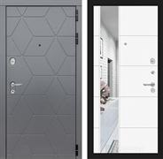 Входная металлическая дверь Лабиринт Cosmo 19 Зеркало (Графит / Белый софт)