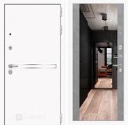 Входная металлическая дверь Лабиринт Line White с Зеркалом Максимум (Шагрень белая / Бетон светлый)